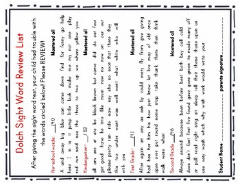 Dolch Sight word Checklist