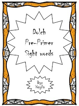 Dolch Sight words pre-primer Halloween orange border/