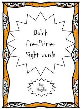 Dolch Sight words pre-primer Halloween orange border/