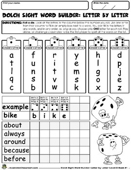 Dolch SightWord Builder Letter-by-Letter-Level D Book1 Grades-K-3