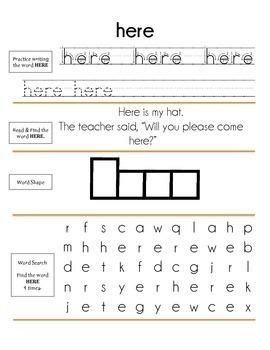 Dolch Sigt Word Practice: Pre-Primer