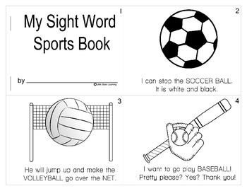 Dolch Sports Mini-book Using ALL Pre-primer - 1st grade words