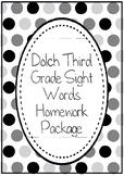 Dolch Third Grade 3 Sight Words Homework Package Folder