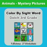 Dolch Third Grade: Color by Sight Word - Animals Mystery Pictures