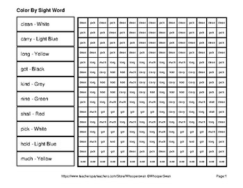 Dolch Third Grade: Color by Sight Word - Back To School Mystery Pictures
