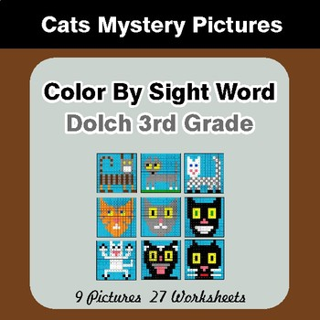 Dolch Third Grade: Color by Sight Word - Cats Mystery Pictures