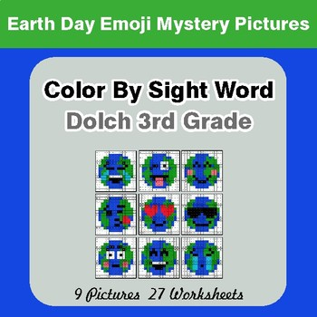 Dolch Third Grade: Color by Sight Word - Earth Day Emoji Mystery Pictures