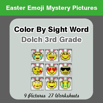 Dolch Third Grade: Color by Sight Word - Easter Emoji Mystery Pictures