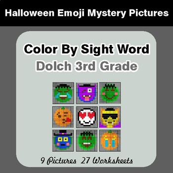Dolch Third Grade: Color by Sight Word - Halloween Emoji Mystery Pictures