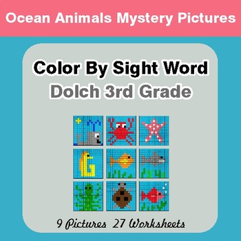 Dolch Third Grade: Color by Sight Word - Ocean Animals Mystery Pictures