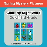 Dolch Third Grade: Color by Sight Word - Spring Mystery Pictures