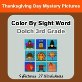 Dolch Third Grade: Color by Sight Word - Thanksgiving Mystery Pictures