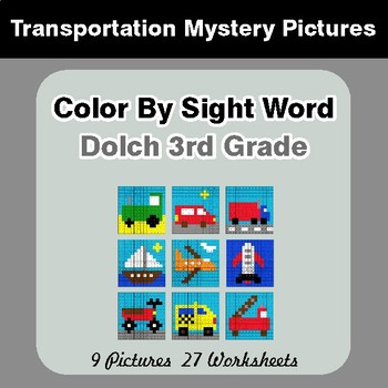 Dolch Third Grade: Color by Sight Word - Transportation Mystery Pictures