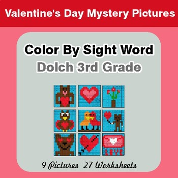 Dolch Third Grade: Color by Sight Word - Valentine's Day Mystery Pictures