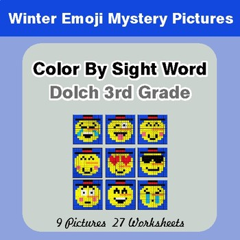 Dolch Third Grade: Color by Sight Word - Winter Snowman Emoji Mystery Pictures