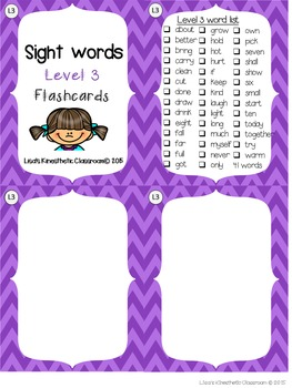 Sight Word Flashcards: Third Grade