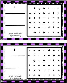Dolch Third Grade Sight Vocabulary Word Search Sliders