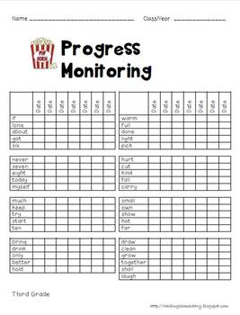 Dolch Third Sight Word Assessment Pack Popcorn Theme - CCSS Aligned