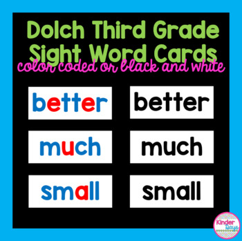 Dolch Third Grade Sight Word Cards