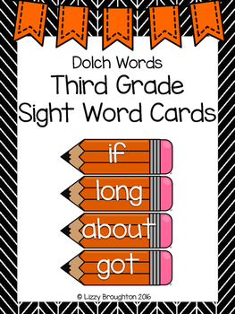 Dolch Third Grade Sight Word Cards- Orange