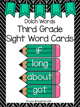 Dolch Third Grade Word Wall Sight Word Cards- Turquoise