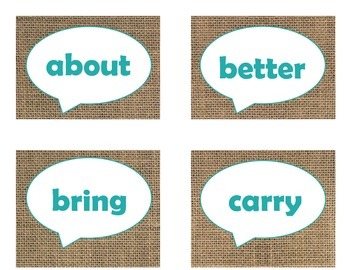 Dolch Third Grade Sight Word Flash Cards (Burlap and Turquoise)