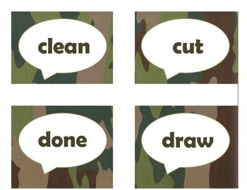 Dolch Third Grade Sight Word Flash Cards (Camo)