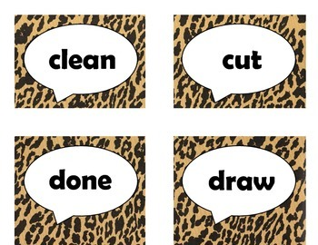 Dolch Third Grade Sight Word Flash Cards (Cheetah/Leopard with Black Lettering)