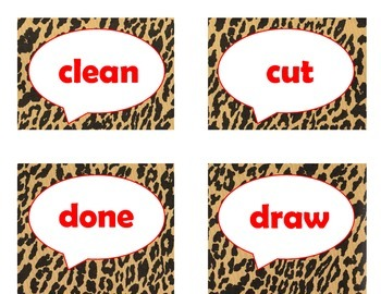 Dolch Third Grade Sight Word Flash Cards (Cheetah/Leopard with Red Lettering)
