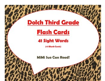 Dolch Third Grade Sight Word Flash Cards (Cheetah/Leopard