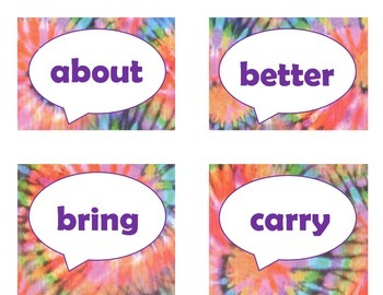 Dolch Third Grade Sight Word Flash Cards (Tie Dye with Purple Lettering)