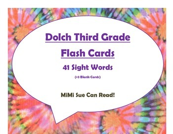 Dolch Third Grade Sight Word Flash Cards (Tie Dye with Pur
