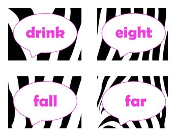 Dolch Third Grade Sight Word Flash Cards (Zebra with Hot Pink Lettering)