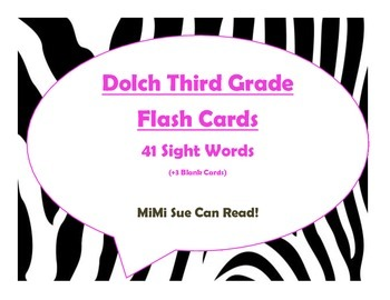 Dolch Third Grade Sight Word Flash Cards (Zebra with Hot P