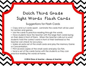 Dolch Third Grade Sight Word Flash Cards (with Chevron Frame)