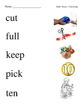 #2. Dolch Third Grade Sight Word Picture Match