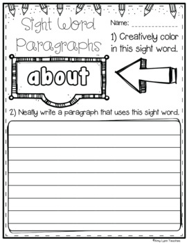 Dolch Third Grade Sight Words Practice Pages