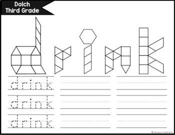 Dolch Third Grade Task Cards: Pattern Blocks