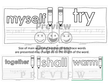 Dolch Third Grade Word Mats - Build and Write -  Black and White