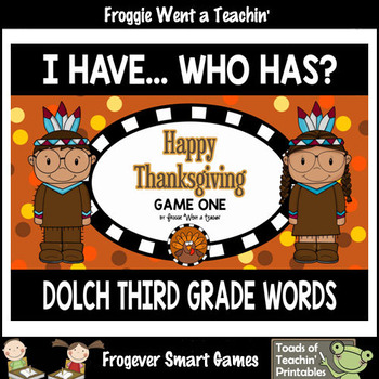 """Dolch Third Grade Words I Have... Who Has? """"Happy Thanksgiving"""""""