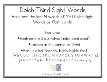 Dolch Third Sight Words