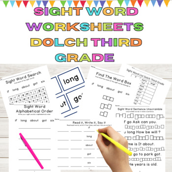Dolch 3rd Grade 9 Weeks of Sight Word and High Frequency Word Work