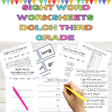 Sight Word Worksheets l Dolch 3rd Grade 9 Weeks of Word Wo