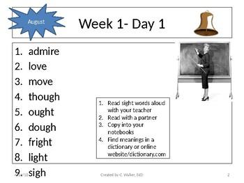 Dolch Vocab Grade 6 Bellwork Weeks 1-4