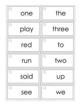 Dolch Wearable Preprimer Practice Cards (set #1)