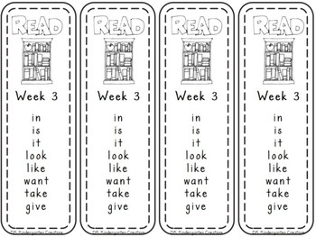 Dolch Weekly Sight Word Bookmarks