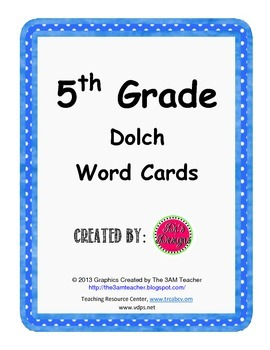 Dolch Word Card Set for 5th Grade