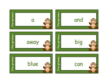 Dolch Word Cards - Monkey Theme