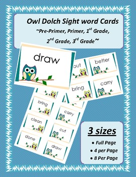 Dolch Word Cards - Teal & Green OWL