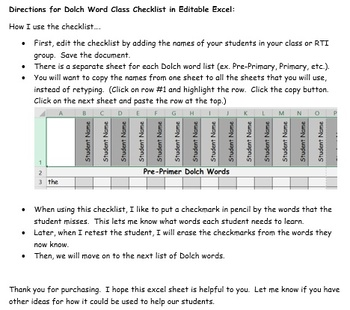 Dolch Word Class Checklist Fully Editable Excel